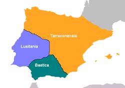 Reorganiza��o de Augusto em tr�s prov�nciasm ap�s as Guerras Cant�bricas (69 d.C.): B�tica, Lusit�nia e Tarraconense.