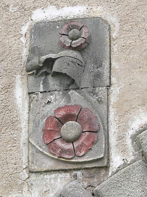 Rose (heraldry) - Canting arms of the House of Rosenberg as they appear on the gate of Vyšší Brod Monastery