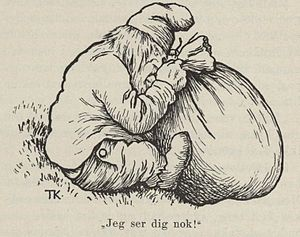 "The Old Dame and her Hen - Troll tries to peek in bag and hears ""I can still see you"" (illustr. Kittelsen)"