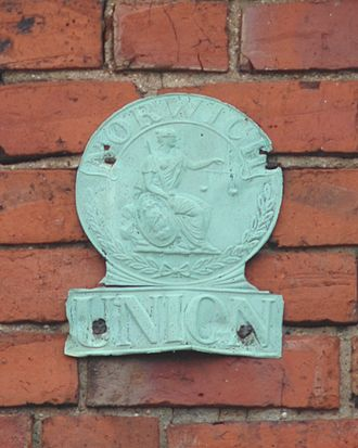 Norwich Union - 19th century Norwich Union fire insurance mark on Hugglescote Wesleyan Chapel, Leicestershire, England