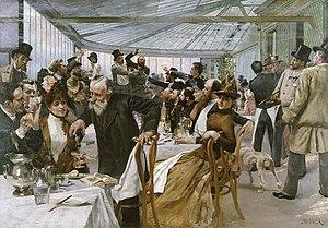 Ledoyen - Scandinavian Artists' Lunch at Cafe Ledoyen, by Hugo Birger, 1886