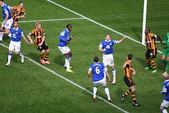 Matty Fryatt - Fryatt (furthest left wearing stripes) on the last day of the 2013–14 Premier League season, facing Everton. Less than a month later, he would sign for Nottingham Forest.