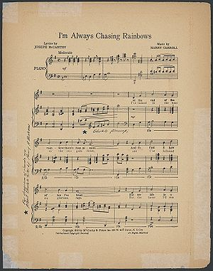 "Sheet music of ""I'm Always Chasing Rainbo..."