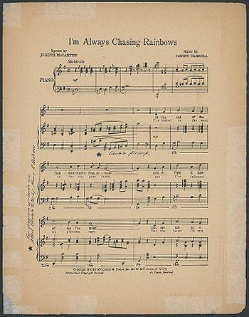 """English: Sheet music of """"I'm Always Chasi..."""