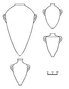 Schematische Umzeichnungen eisenzeitlicher Amphorentypen aus dem Phönizischen Raum.