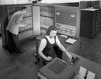 Programmer - Two programmers working on an IBM Type 704 at NACA, 1954