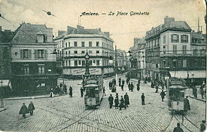 Birdsong (novel) - A plaza with trolley in pre-War Amiens.