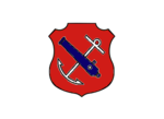 An insiginia in the form of a red shield. On the shield are a white anchor crossed by a blue cannon barrel.