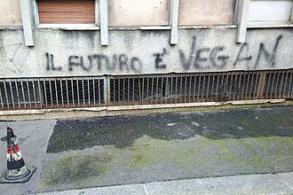 Vegetarianism by country - FUTURE IS VEGAN - graffiti in Turin