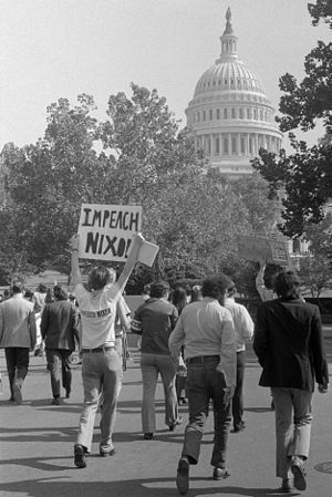 "Impeachment process against Richard Nixon - Demonstrators in Washington demanding that Congress impeach President Nixon, two days after the ""Saturday Night Massacre"""