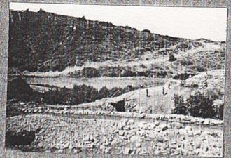 Capture of Damascus - Road from Jisr el Majamie to Irbid at the Wadi Ghafur on 29 September when 30 lorries which supplied the 4th Cavalry Division passed by; the bridge breaking under the pressure so the lorries crossed the stream bed on the right