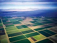 Aerial shot of farm fields with a large body of water in the background