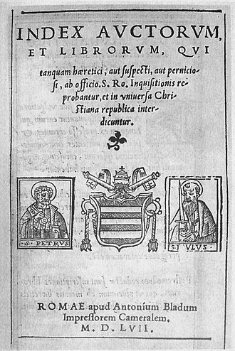 Index Librorum Prohibitorum - Title page of the first Papal Index, Index Auctorum et Librorum, published in 1557 and then withdrawn.