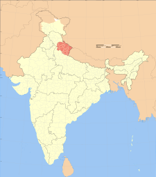 Map of India with the location of ಉತ್ತರಾಖಂಡ highlighted.