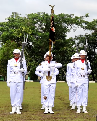 Indonesian army colour guard