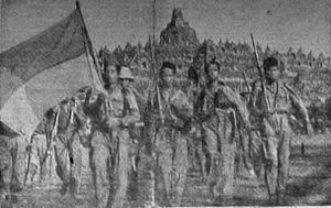 Indonesian National Armed Forces - Indonesian soldiers in front of Borobudur, March 1947