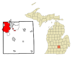 Ingham County Michigan Incorporated and Unincorporated areas Lansing Highlighted.svg