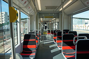 H Street/Benning Road Line - Interior of a streetcar making a test or training run on DC Streetcar's H Street NE line