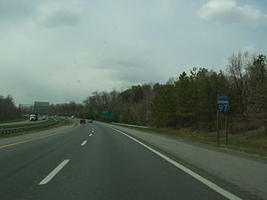 Interstate 97 - Northbound I-97 near its southern terminus at US 50 and US 301