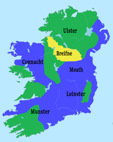 Ireland in 1250 showing Gaelic Areas (Green) and Norman Areas (Blue). Breifne is shown in yellow. Ireland1250 Breifne.png