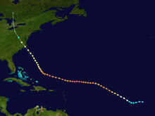 Map plotting the track and the intensity of the storm, according to the Saffir-Simpson scale Isabel 2003 track.png