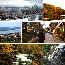 Frae tap left: Ithaca during winter, Ithaca during hairst, Cornell Varsity, Ithaca Commons (dountoun), Hemlock Gorge in Ithaca, Ithaca Faws