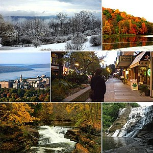Ithaca, New York - From top left: Ithaca during winter, Ithaca during autumn, Cornell University, Ithaca Commons (downtown), Hemlock Gorge in Ithaca, Ithaca Falls