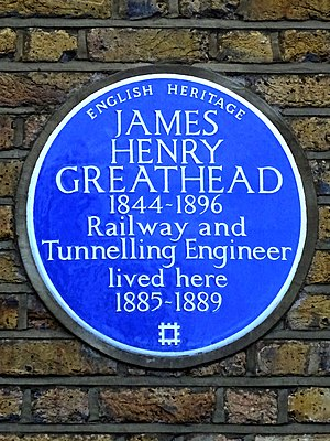 James Henry Greathead - Image: JAMES HENRY GREATHEAD 1844 1896 Railway and Tunnelling Engineer lived here 1885 1889