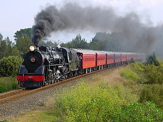 NZR JA class - JA 1271 with excursion consist on approach to Ahuriri on 14 February 2003.
