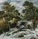 Jacob van Ruisdael - Landscape with waterfall and logs blocked by rocks.jpg