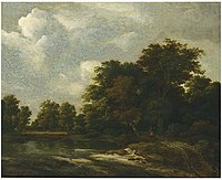 Jacob van Ruisdael - Wooded landscape with travellers on a track by a river 49Z5C AM0941-94.jpg
