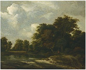 Wooded landscape with travellers on a track by a river