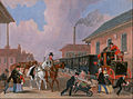James Pollard - The Louth-London Royal Mail Travelling by Train from Peterborough East, Northamptonshire - Google Art Project.jpg