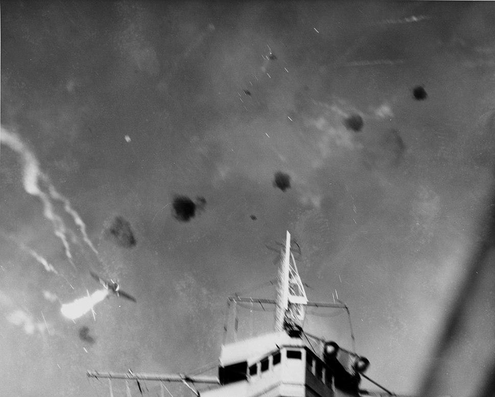 Japanese Aichi D3A dive bomber shot over USS Enterprise (CV-6) on 24 August 1942 (80-G-31349)