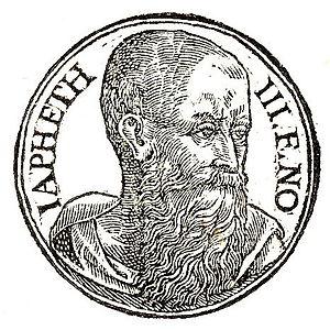 """Japheth - """"Japheth third son of Noah"""", as depicted in Promptuarii Iconum Insigniorum (c. 1553)"""