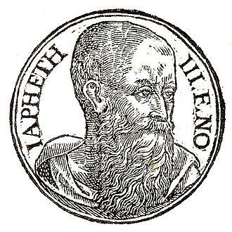 """Japheth - """"Japhet third son of Noah"""", as depicted in Promptuarii Iconum Insigniorum (c. 1553)"""