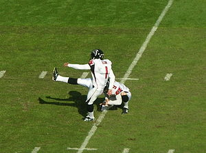 Jason Elam - Elam kicks a PAT in a road game against the Oakland Raiders on November 2, 2008.