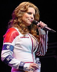 Simpson at the USO/DoD Celebrity Tour at Eagle Base, November 14, 2001.