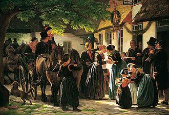 Julius Exner - Exner's Et brudepars hjemkomst fra kirken, Amager, 1863
