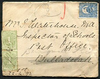 Bungwahl, New South Wales - An underpaid letter to John Waterhouse readdressed to Bungwall Flat in 1893; the initials of the postmaster J. H. Grill