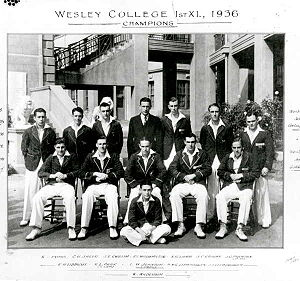Ian Johnson (cricketer) - The Wesley College First XI in 1936. Johnson is in the middle row, centre.