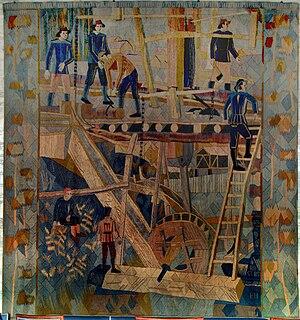 Kåre Jonsborg -  Billedteppe, Saw Mill, 2,5 x 2,5 m in Oslo Town Hall, by Kåre Jonsborg, woven by Else Halling 1952 - 1953.