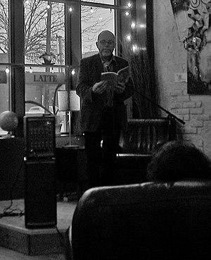 Pierre Joris - Pierre Joris reading at the Segue Cafe, Minneapolis, MN, 8 April 2015.