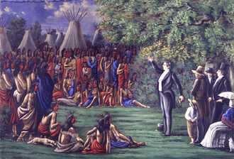 Lamanite - Joseph Smith preaching to the Sac and Fox Indians who visited Nauvoo, Illinois on August 12, 1841.