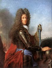 Maximilian II. Emanuel in armor, with a blue Bavarian sash and marshal's baton