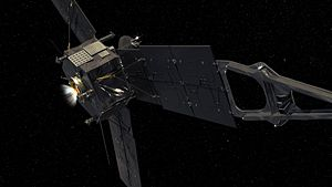 LEROS - NASA's Juno spacecraft firing its LEROS 1b engine (computer-generated image)