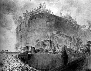 Visit of King George IV to Scotland - The King waves his hat from the castle battlements.