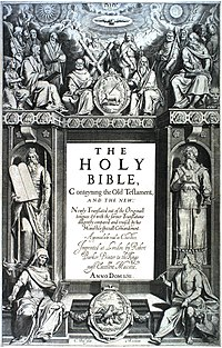 "The title page's central text is: ""THE HOLY BIBLE, Conteyning the Old Testament, AND THE NEW: Newly Translated out of the Originall tongues: & with the former Translations diligently compared and revised, by his Majesties speciall Comandement. Appointed to be read in Churches. Imprinted at London by Robert Barker, Printer to the Kings most Excellent Majestie. ANNO DOM. 1611 ."" At bottom is: ""C. Boel fecit in Richmont.""."