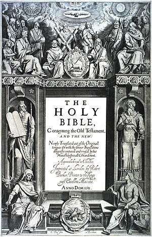 Cornelis Boel - Boel's frontispiece to the first edition of the King James' Bible (1611)