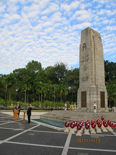 Although Warriors' Day commemoration services are no longer officially held at the National Monument, Remembrance Day ceremonies continue to take place there. Pictured is Remembrance Sunday at the National Monument's cenotaph on 13 November 2011. KL Cenotaph.jpg